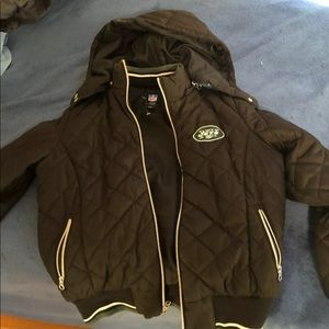 Womens NFL New York Black Jets Jacket With Hood M